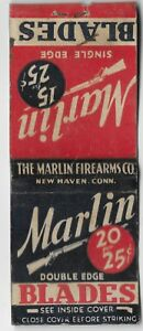 Vintage MATCHBOOK COVER  MARLIN DOUBLE EDGE BLADES USED
