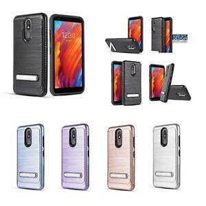 "for 5.45"" LG Aristo 4 Plus Metal Built-In Kickstand Brushed Bumper Phone Case"