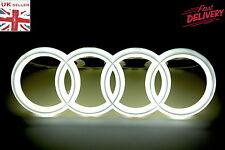 SET OF 2 FRONT REAR 4D 3D AUDI LED WHITE LIGHT CAR AUTO LOGO BADGE EMBLEM RINGS