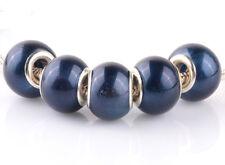 5pcs silver pearl Cymbidium spacer beads fit Charm European Bracelet DIY B#920