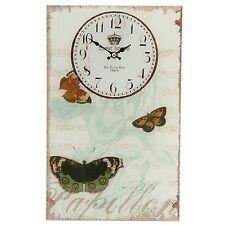 Clayre & Eef Wanduhr Uhr PAPILLON Schmetterling, Glas Landhaus  25x40cm / 0265