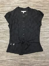 Laura Ashley Short Sleeve Floral Silk Top In Black Size 10