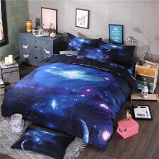 3D Galaxy Duvet Quilt Cover Set Pillow Case Space Planet Bedding Set Double Size