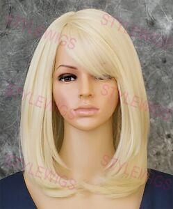 Light Blonde Shoulder Medium Layered Straight Heat OK Human Hair Blend Wig EVBD