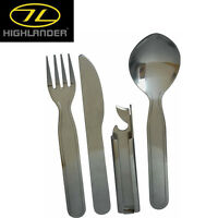 HIGHLANDER MILITARY STYLE KFS CUTLERY SET CAMPING BUSHCRAFT MILTARY ARMY SCOUTS