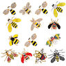 1×Delicate Little Bee Insect Crystal Rhinestone Collar Brooch Pin Women Jewelry