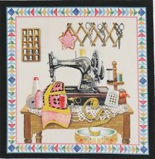Quilter's Vintage Sewing Machine Thimble Collection Scissors #1 Quilt Block