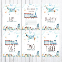 Baby Milestone Cards, 4x6 Photo Prop, 33 cards, Trains and Planes