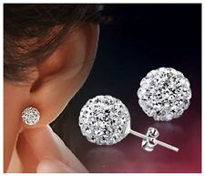 Women's/Girl's 18ct White Gold Plated Cubic Zirconia 'Disco Ball' Stud Earrings