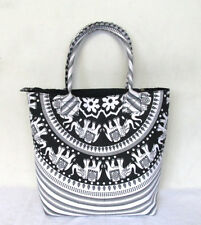 Shoulder Bag Women's Beach Towel Bags Cotton White Elephant Mandala Handbags
