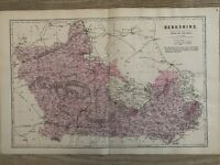 1884 Berkshire Original Antique Hand Coloured County Map by Edward Weller
