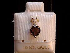 Rauchtopas Herz mit Mondstein Krone - 6 x 6 mm - 10 Kt. Gold - 417 - Anhänger !