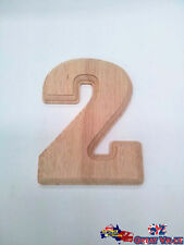 "Small Oak Wood Number ""2"" Natural Brown House Room Motel Locker Work Craft"