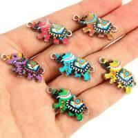 10Pcs Enamel Colorful Elephant Charms Pendants Beads Fit Bracelet Jewelry Making