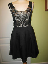 LADIES EUR 34 UK 6-8 BLACK PARTY DRESS WITH SILVER EMBROIDERED CHEST BY RESERVED
