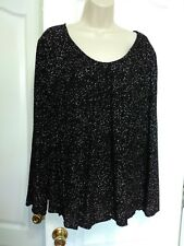 nwt black white polka dots top blouse tunic peasant pull over cato XL