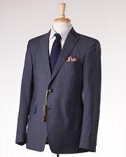 NWT $2375 ETRO Gray-Blue Stripe Wool Suit Slim 40 R (Eu 50) Contrast Silk Lining