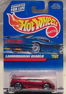 Hot Wheels #781 Lamborghini Diablo 5-Hole Wheels Maroon on Blue Card 1:64 Scale!