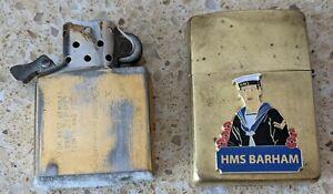 Original Zippo Brass Lighter -Customised for HMS Royal Oak / HMS Barham -used