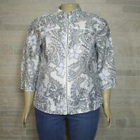 Coldwater Creek Misses 16 Zip Up Jacket Ivory Gray Paisley Sheer Panels