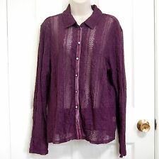 J. Jill XL Purple Stretch Victorian Lace Blouse Boho Button Down Shirt Velvet