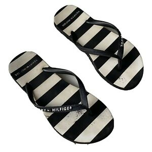 TOMMY HILFIGER Black White Distressed Slippers Zori Flip Flops Women's 5-6 VGUC