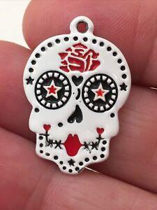 Necklase Pendant Sugar Skull Red White Black