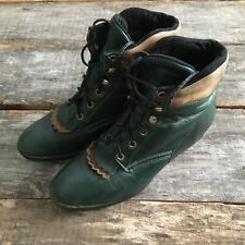 Laredo Performair Green Leather Lace Up Paddock Stepper Boots 9.5