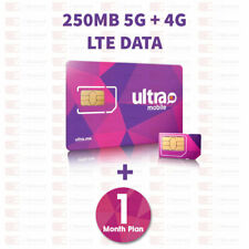 Ultra Mobile Sim Card with 250Mb 4G Lte Data, 1st Month Services