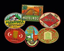 Hotel Luggage Labels & Baggage Tag Stickers, 6 Steam Trunk Label Reproductions