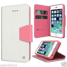 IPHONE 5 5S Wallet Cover Pouch w/Magnetic Flap+Card Slots Case White Pink
