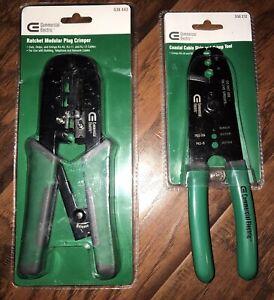 NEW Commercial Electric Ratchet Plug Crimper 538443 & Coaxial Stripper