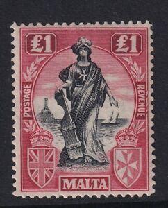 MALTA GV SG139, £1 black & carmine red, MNH. Cat £150.