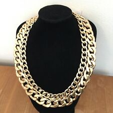 Gold Tone Chunky Chains Statement Necklace Costume Jewellery 80s 90s Gangster