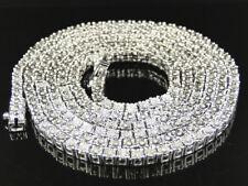 Mens White Gold Finish Round Cut 1 Row Real Genuine Diamond Chain 32 Inch