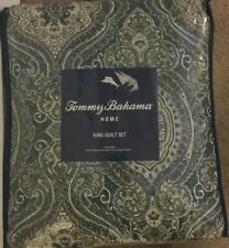Tommy Bahama Turtle Cove Green 3 Piece Reversible King Quilt Set