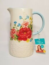 """New listing The Pioneer Woman Pitcher Sweet Rose Pattern 2.1 Quarts 9.25"""" Tall New Htf"""