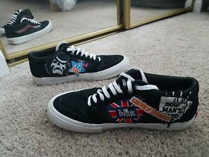 RARE VANS The RAMONES/BEATLES ULTRACUSH PRO SUEDE/CANVAS SKATEBOARDING Shoes red