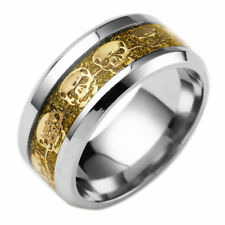 Size 6 GOLD SKULLS Within GOLD Inlay Band New TITANIUM Steel Ring USA SELLER