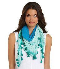 NWT Eileen Fisher Color-field Shibori Silk Georgette Aqua Square Scarf $98.00