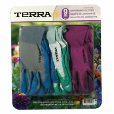 Terra Gardening Gloves 3 Pairs Nitrile Coated Womens Ladies One Size Fits Most