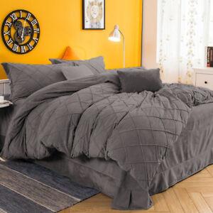 Bedding Collection 3 PC Twin / Twin XL Grey Pintuck Velvet Duvet Cover Set