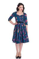 Magical Woodland Floral & Owl Bird Print Teal Blue Belted Swing Dress