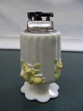 HTF Fenton White Milk Glass Painted Embossed Raised Yellow Roses Table Lighter