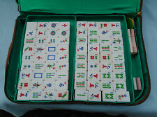 Vintage Mahjong Set 148 tiles Chinese Tri Colour  Cased Mah Jong