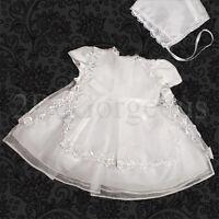 Beaded White Baby Girl Christening Baptism Formal Dress Gown /& Bonnet 9-12m #027