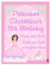 15 PERSONALIZED PRINCESS BIRTHDAY PARTY MAGNETS FAVORS