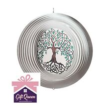 "12"" TREE OF LIFE WIND SPINNER Stainless Steel Garden Home Décor Silver Green NEW"