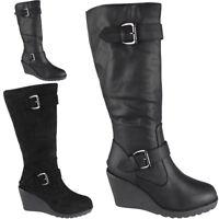 Womens Ladies Mid Calf High Boots Buckle Casual Work Zip Wedge Heel Shoes Size