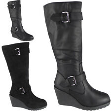 Womens Ladies Mid Calf High Boots Buckle Casual Work Zip Wedge Heel Shoes Size